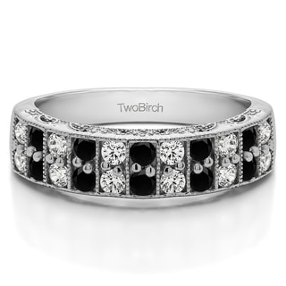 Sterling Silver Double Row Millgrained Pave Vintage Wedding Ring With Black And White Diamonds G H I2 0 99 Cts Twt