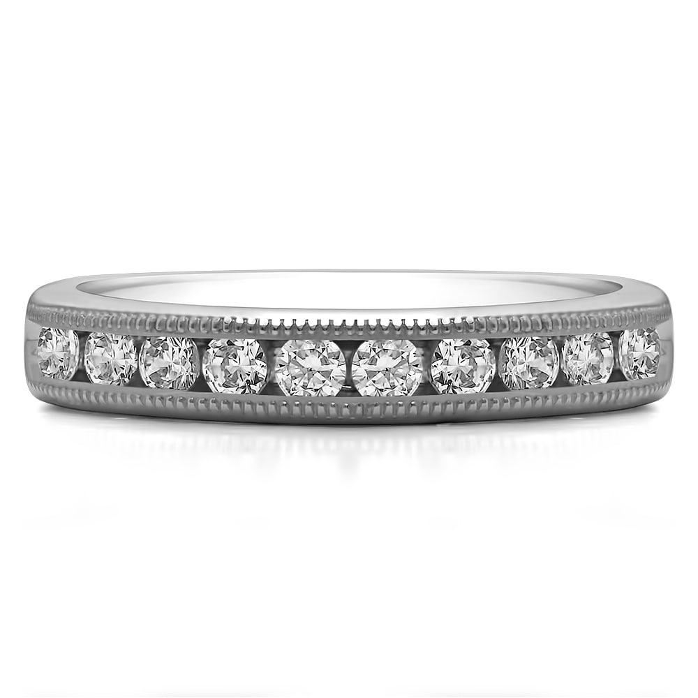 Size-3 1//6 cttw, Diamond Wedding Band in Sterling Silver G-H,I2-I3
