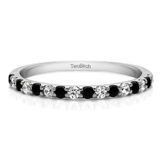 Sterling Silver Double Row Infinity Wedding Band With Black And White Diamonds G H I2 0 48 Cts Twt