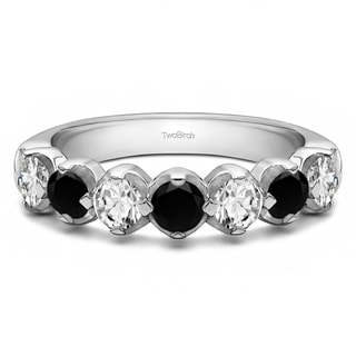 Sterling Silver Seven Stone Common Prong U Set Wedding Ring With Black And White Diamonds G H I2 0 25 Cts Twt