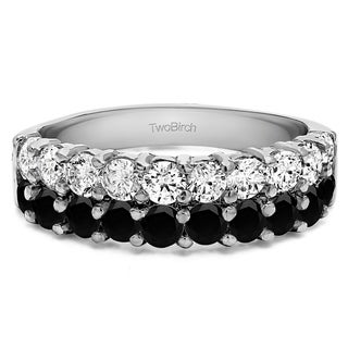 Sterling Silver Double Row Double Shared Prong Wedding Ring With Black And White Diamonds G H I2 1 5 Cts Twt