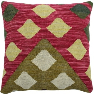 """Hough Pink/Olive Green Hand-Woven Kilim Throw Pillow -17""""x17"""""""