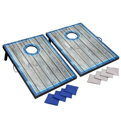 LED Cornhole Set with Target Boards and 8 Bean Toss Bags - Blue/White