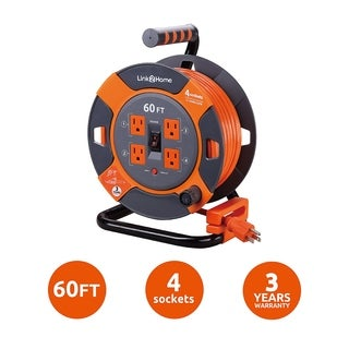 Link2Home Cord Reel 60 ft. Extension Cord 4 Power Outlets - 14 AWG SJTW Cable. Heavy Duty High Visibility Power Cord.
