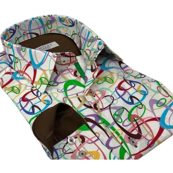DMITRY Italian Multi Colored Cotton Men's Long Sleeve Shirt