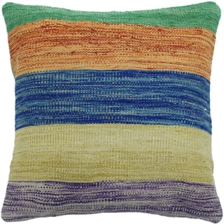 "Heath Blue/Gold Hand-Woven Kilim Throw Pillow -18""x18"""
