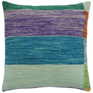 "Hook Teal/Purple Hand-Woven Kilim Throw Pillow -18""x18"""