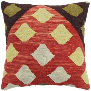 """Houle Rust/Pink Hand-Woven Kilim Throw Pillow -17""""x18"""""""