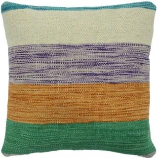"Hefner Green/Orange Hand-Woven Kilim Throw Pillow -18""x18"""
