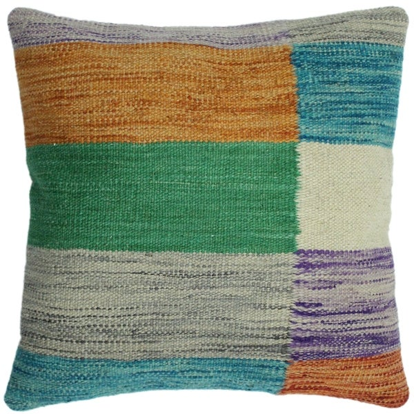 "Hennesse Teal/Orange Hand-Woven Kilim Throw Pillow -18""x18"""