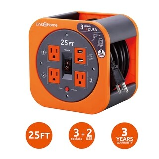 Link2Home Cord Reel 25 ft. Extension Cord 3 Power Outlets, 2 USB Ports, 2.4A Fast Charge - 16 AWG SJT Cable.