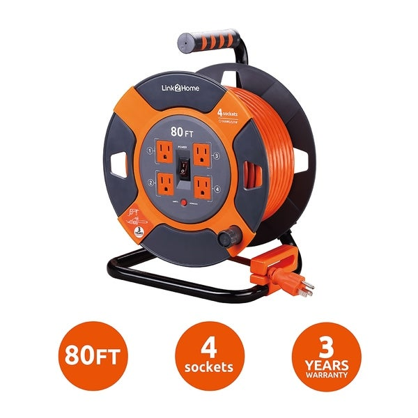 Link2Home Cord Reel 80 ft. Extension Cord 4 Power Outlets - 14 AWG SJTW Cable. Heavy Duty High Visibility Power Cord.