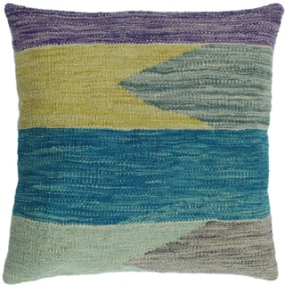"Hooks Teal/Gold Hand-Woven Kilim Throw Pillow -18""x18"""