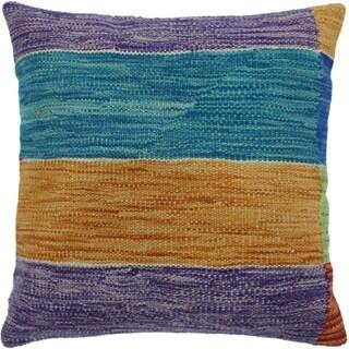 "Hood Teal/Orange Hand-Woven Kilim Throw Pillow -18""x18"""