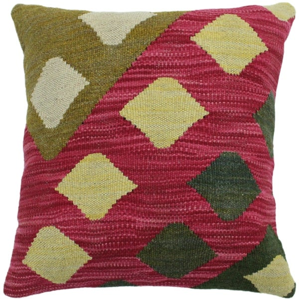 """Houser Pink/Olive Green Hand-Woven Kilim Throw Pillow -18""""x18"""""""