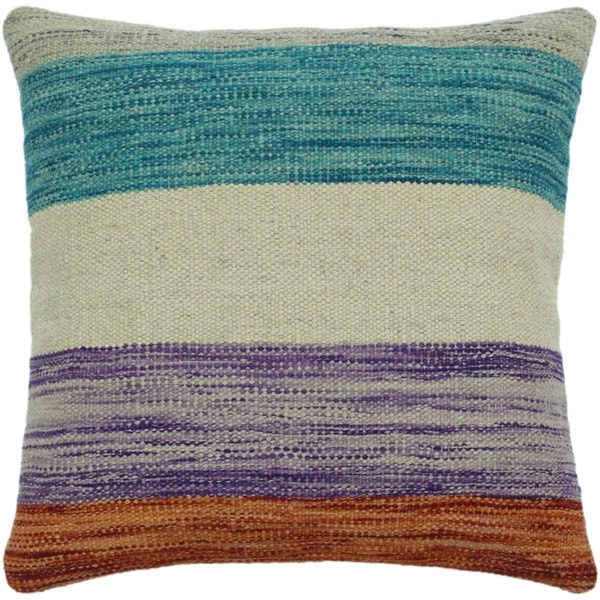 "Held Blue/Rust Hand-Woven Kilim Throw Pillow -18""x18"""