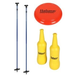 Bottle Blast Polish Horseshoes Set with Throwing Disc - Blue/Yellow