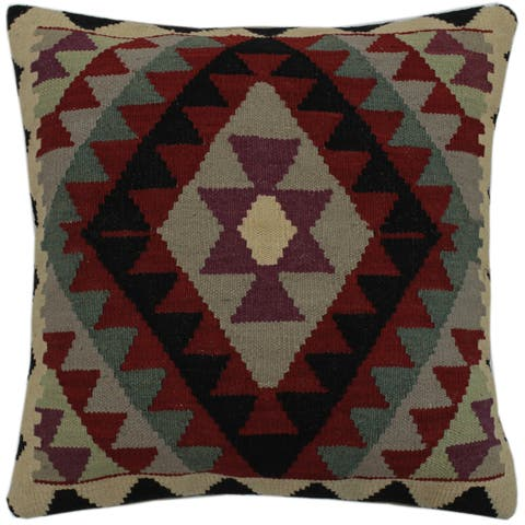 """Chen Red/Ivory Hand-Woven Kilim Throw Pillow -21""""x22"""""""