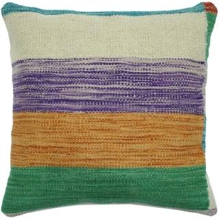 "Heard Ivory/Green Hand-Woven Kilim Throw Pillow -18""x18"""