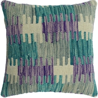 "Hedges Green/Purple Hand-Woven Kilim Throw Pillow -18""x18"""