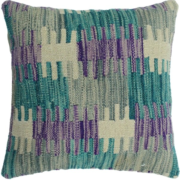 "Hedges Green/Purple Hand-Woven Kilim Throw Pillow -18""x18"""