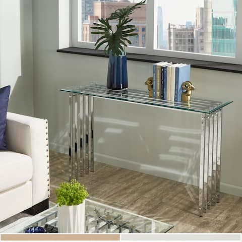 Silver Orchid Bellamy Sofa Table with Glass Top