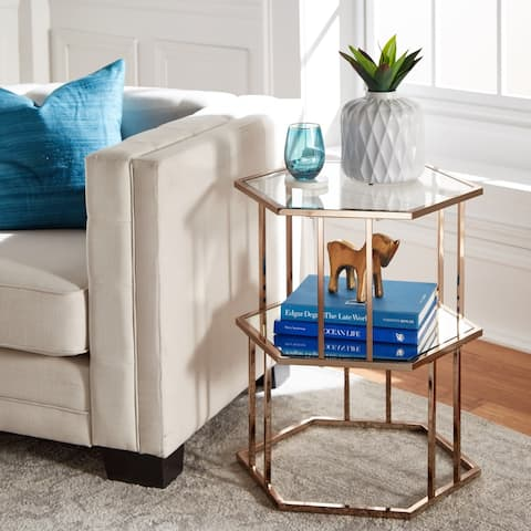 Silver Orchid Anderson Gold Finish Side Table with Mirror