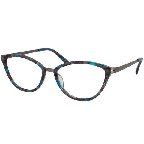 Modo 4503 GAQMB Women's Grey/Aqua Marble Plastic Frame 52mm Eyeglasses