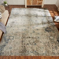 Porch & Den Hogan Distressed Ivory / Blue Geometric Area Rug