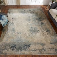 Porch & Den Hofer Distressed Blue and Beige Abstract Geometric Area Rug