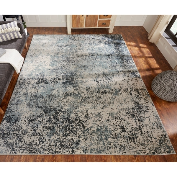 Porch & Den Hoffert Blue Tones Abstract Area Rug