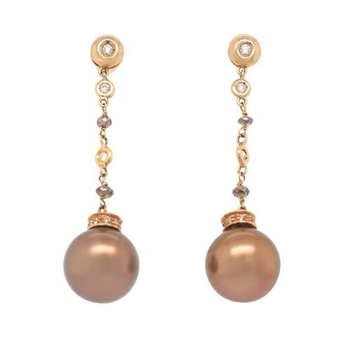 18K Yellow Gold Chocolate Pearl Estate Earrings