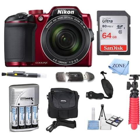 Nikon COOLPIX B500 Digital Camera w/ 64GB USB Accessory Bundle