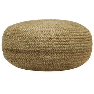 The Curated Nomad Molino Round Woven Pouf in Natural Jute (As Is Item)