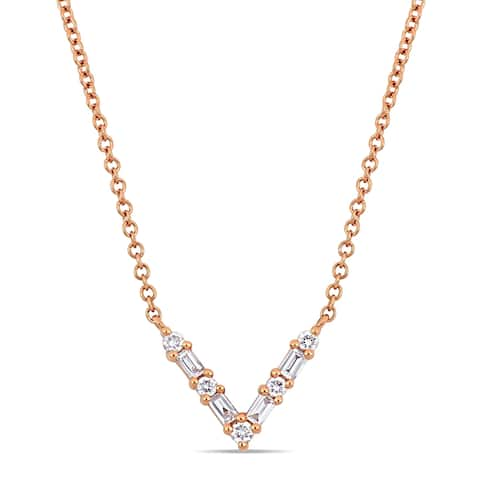 Miadora 14k Rose Gold 1/6ct TDW Parallel Baguette and Round-Cut Diamond V-Shape Bar Necklace
