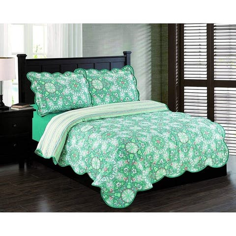 Hawaiian Haven Quilt Set - Coral and Sea Blue Cotton Sateen