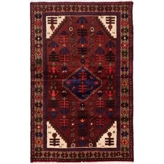 eCarpetGallery  Hand-knotted Hamadan Burgundy Wool Rug - 3'1 x 4'11