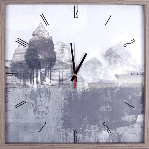 L&scape Gray Tree Framed Decorative Silent Art Clock, 21.25X21.25