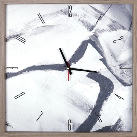 Black & Gray Abstract Print Framed Decorative Art Clock 21.25X21.25