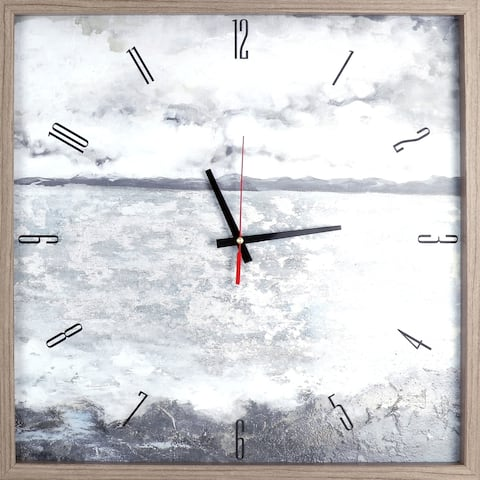 Landscape Lake View Framed Decorative Silent Art Clock 21.25X21.25