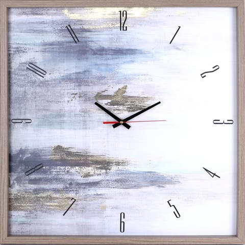 Gold Abstract I Framed Decorative Silent Art Clock, 25.25X25.25