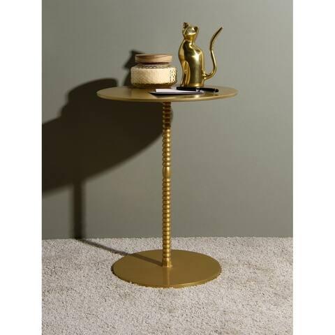 "Aurora Home Orissa Brass Finish Pedestal Table - 15"" W x 15"" D x 20"" H"
