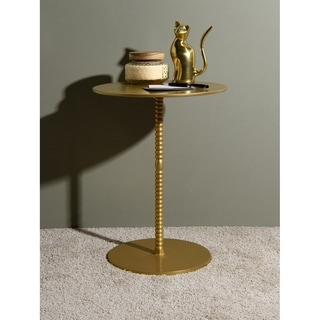 "Aurora Home Orissa Brass Finish Pedestal Table - 15"" W x 15"" D x 20"" H"