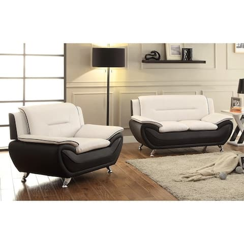 Palm 2-piece Bonded Leather Living Room Loveseat and Chair Set