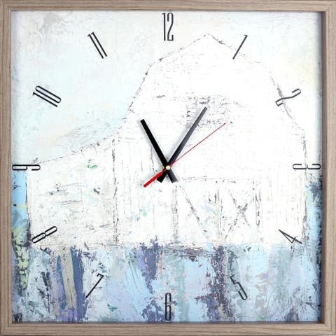 AbstractLandscape Barn Print Framed Decorative Art Clock 21.25X21.25