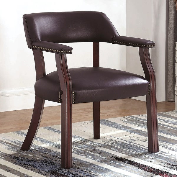 Classic Burgundy Office Guest Reception Chair with Nailhead Trim