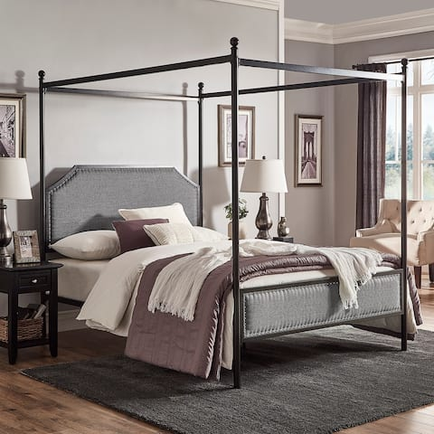 Rayen Grey Upholstered Metal Canopy Queen Bed by iNSPIRE Q Classic