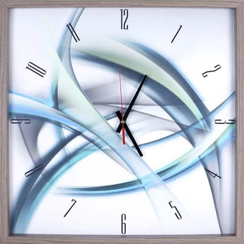Blue Abstract Rhythminc Lines Print Framed Art Clock 21.25X21.25