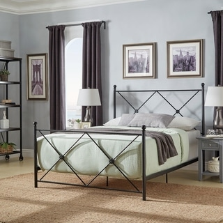 Aniket Double X Black Metal Queen-size Bed by iNSPIRE Q Classic