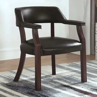 Classic Black Office Guest Reception Chair with Nailhead Trim